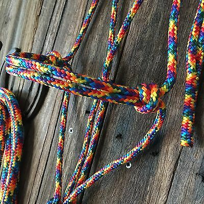 BNWT Cob~Horse~WB~Clydie Size Rope Halter Rainbow ~ Horse Tack Horsemanship