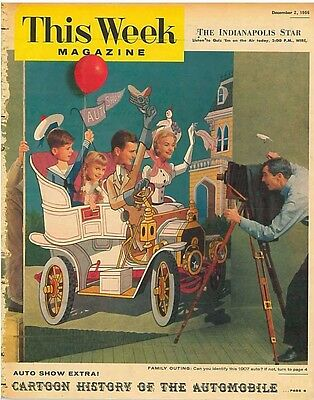 This Week Magazine 2 December 1956 - Auto Show Cartoon History of the Automobile