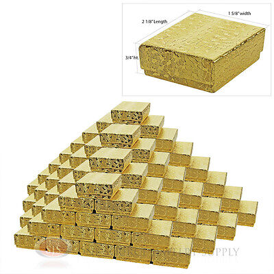 """100 Gold Foil Cotton Filled Jewelry Gift Boxes  2 1/8"""" X 1 5/8"""" Charm Pendant"""