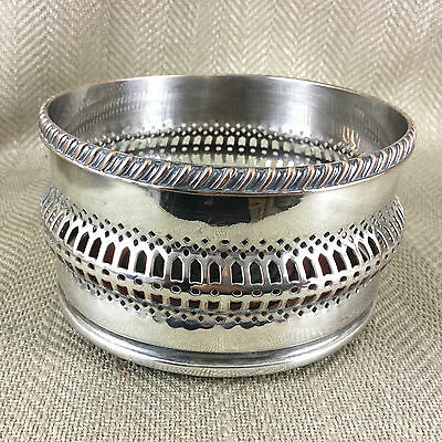 Antique Wine Bottle Coaster Silvered Plated Champagne Stand Edwardian