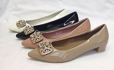 12x Ladies Womens Low Block Heel Pointy Patent Court Shoes Wholesale Job Lot New