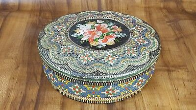 Vintage Hand Painted Mosaic Floral Raised Tin Cookie Tin Sewing Made in Holland