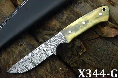 Custom Damascus Hunting Knife Handmade With Camel Bone Handle (X344-G)