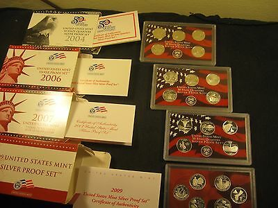 2009~Silver Proof Quarter Set With 3~More Sets 2004, 2006, 2007