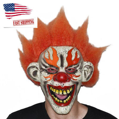 Creepy Evil Clown Mask Adult Scary Halloween Costume Accessory Cosplay Props