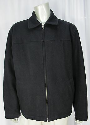 GAP Black Wool Bomber Jacket Coat 17003 Mens Size Large Quilted Lining Full Zip