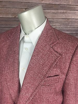 Vtg 60s Heathered Pink Polyester Sport Coat 14A004 Mens 38R Gingham Check Lining