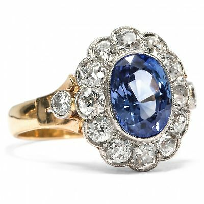 Antiker Ring unbehandelter Saphir & 1,58 ct Diamanten, Belle Époque um 1900