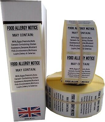 Food Allergy Labels,Food Labels,Catering Warning Stickers, 500 Or 1000 36mmx36mm