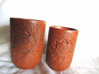 2 Chinese - Japanese clay cups tumblers signed with mark
