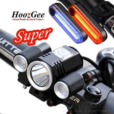 Cycling Bike Bicycle T6 LED Front Torches USB Rechargeable Rear Tail Lights Set