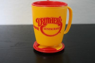 Vintage Whirley Industries Druthers Yellow Red Dashboard Travel Mug w Lid Base
