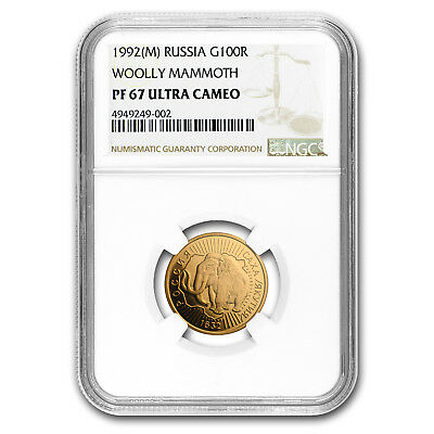 1992 Russia Gold 100 Roubles Woolly Mammoth PF-67 NGC - SKU#153285