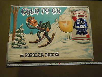 "Vintage Plastic 3D Pabst Blue Ribbon Beer Sign ""Cold to Go at Popular Prices"""