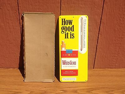 Vintage Winston Cigarettes How Good It Is Thermometer Metal Embossed Sign NOS