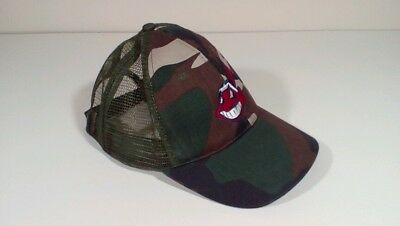 173d78cce39 Cleveland Indians Chief Wahoo Cap Hat Trucker Adult One Size Camo MLB  Baseball