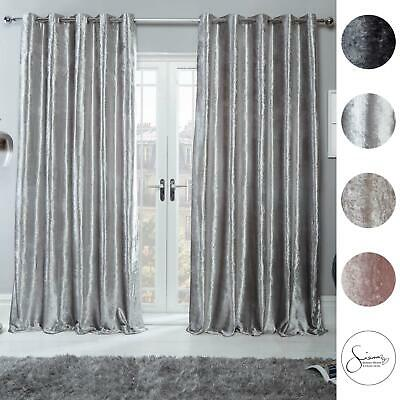 Sienna Home Crushed Velvet Curtains PAIR Eyelet Ring Top Fully Lined From £17.25