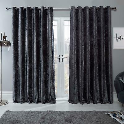 Sienna Pair Crush Crushed Velvet Curtains Fully Lined Eyelet Charcoal Dark Grey