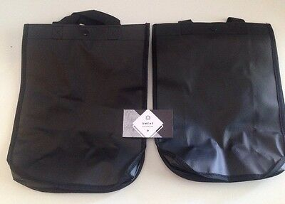 LOT OF 2 NEW Lululemon BLACK QUOTE Reusable Bag Eco Lunch Tote Yoga Gym Shopping