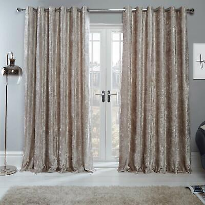Sienna Crushed Velvet Pair of Fully Lined Eyelet Curtains Natural Champagne Gold