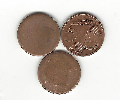 14. Lot Of Two 5 Euro Cent Blank Errors & One Sample Coin Of Same