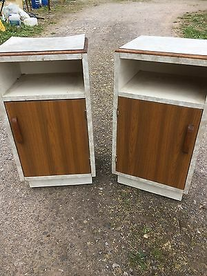2 Retro Bedside Cabinets Formica Covers Vintage Pair  10/7/U