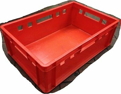 4 Pieces fleischerkiste Euro Containers Closed Red E2 60 40 20 STACKING CRATES