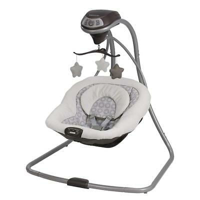 Baby Swing Graco Simple Sway Gray White Stars Infant Seat Bouncer Plugs In NEW