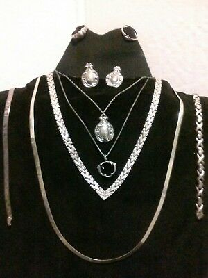 VINTAGE 925 STERLING SILVER JEWELRY LOT, IBB RICCIO ITALY WEARABLE NO SCRAP 72gm