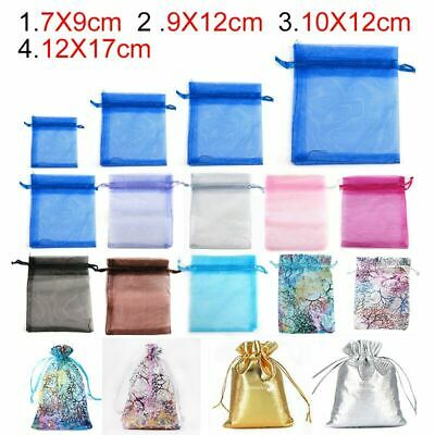 100 LUXURY Organza Gift Bags Candy Sheer Pouch Wedding Favors Xmas Party Decor