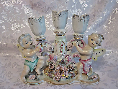 "Cherubs on Victorian porcelain vintage candelabra candle holder 8"" long"