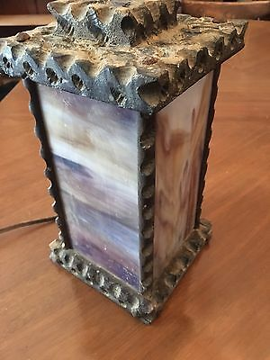 Antique Arts and Crafts Handmade Carved Wood Slag Glass Lamp