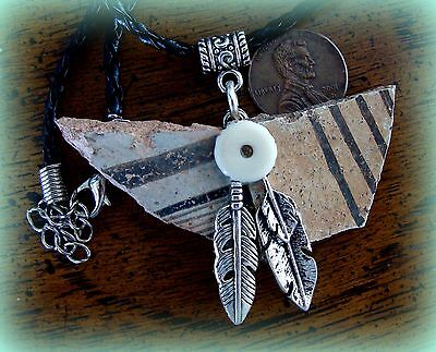 Authentic Old ANASAZI POTTERY SHARDS PENDANT NECKLACE Jewelry - Feathers accent