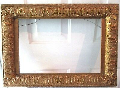 Antique Gold Gilt Fits11X17 Picture Frame Ornate Gesso 1860 Wood Rococo Fine Art