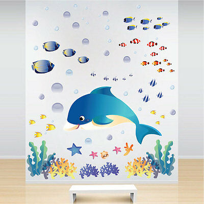 Under The Sea Wall Decals Ocean Life Wallpaper Dolphin Kids Sea Creatures,  N07