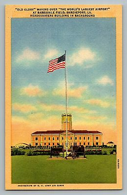 Shreveport Louisiana LA Barksdale Field Airport Flag Curt Teich Postcard 1936