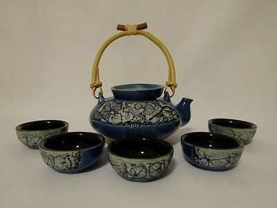 Tenmoku Pottery 7 pc tea set - blue & white - leaf design - orig box - Malaysia