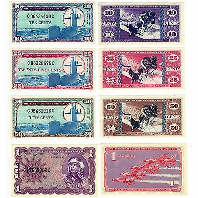 MPC Series 681 10¢, 25¢, 50¢ & $1 Military Payment Certificates GEM UNCIRCULATED