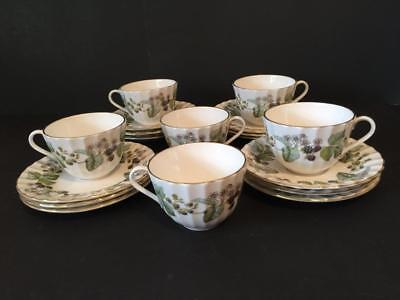 Royal Worcester White Lavinia Blackberry 18 Piece Cup and Saucer Plates