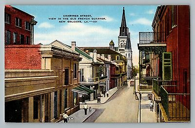 New Orleans Louisiana LA Chartres Street Old French Quarter Postcard 1930-45