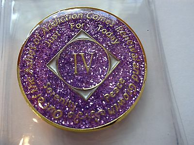 NA Purple Glitter Coin 4 Year Tri-Plate Narcotics Anonymous Medallion Case&Stand