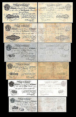 2x 5,10,20,50,100,500 English Pounds-Issue 1934-1944 Britannia - 12 Banknotes 09