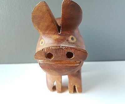Hand carved wooden pig ugly as hell one of a kind  Great shelf piece Collectible