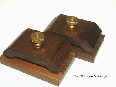 1 Pair Dark Walnut Wood Quilt Hang-Ups Clamps/Clips, Quilt Hangers - Small