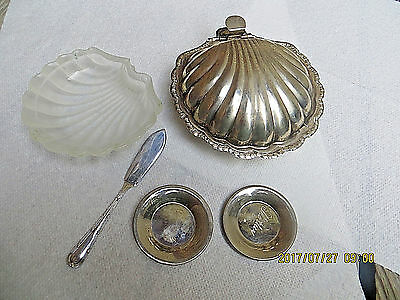 Antique Silverplate Shell Butter Dish Glass Liner, Butter Knife,two Butter Pats