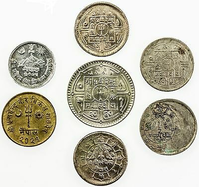NEPAL: LOT of 7 interesting error coins