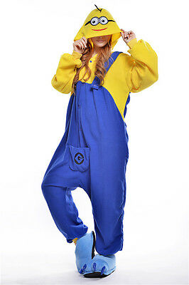 Unisex Adult Pajamas Kigurumi Cosplay Costume Animal Onesi (Minions L)