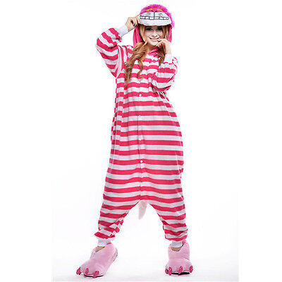 Unisex Adult Pajamas Kigurumi Cosplay Costume Animal Onesi (Cheshire Cat XL)