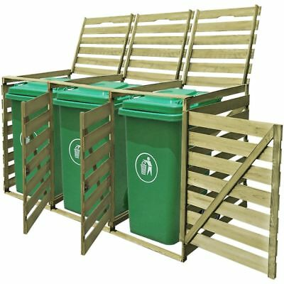 B#vidaXL Impregnated Triple Wheelie Shed for 3x240 L Garbage Bins Garden Storage