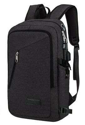 Anti-theft Travel Backpack Business Laptop Book School Bag with USB Charger BLAC